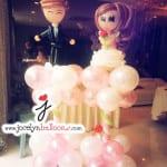 balloon wedding columns in pink