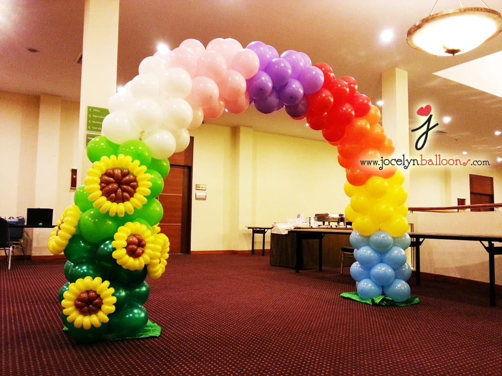 Balloon rainbow arch decoration jocelynballoons the for Balloon decoration companies