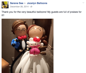 jocelynballoons testimonial for wedding balloons