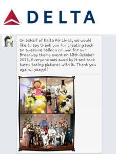 jocelynballoons testimonial from Delta Airlines