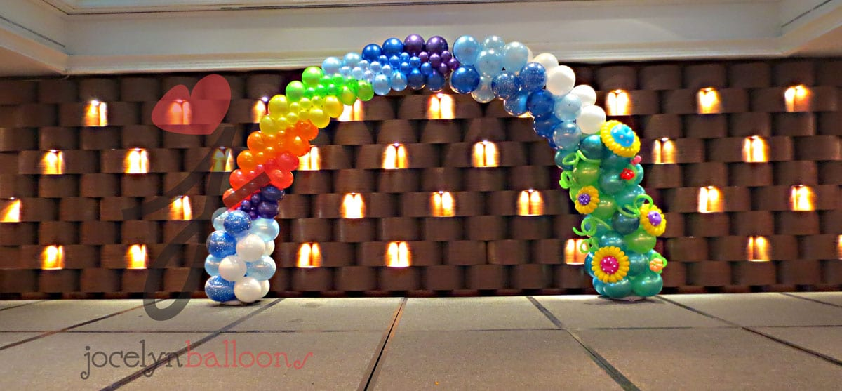 Rainbow balloon arch singapore jocelynballoons the for Balloon decoration company