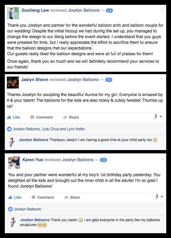testimonial for Jocelynballoons