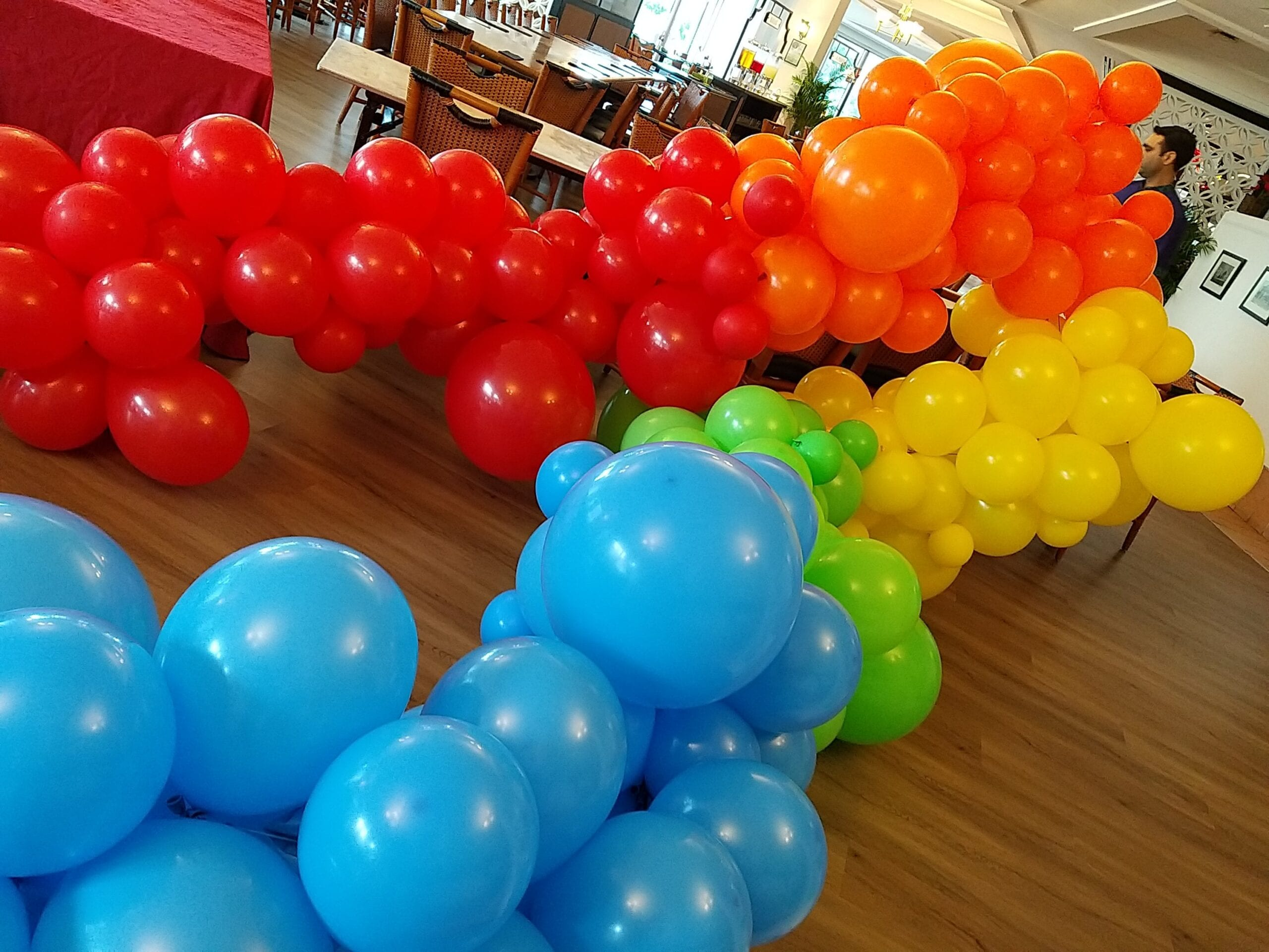 Rainbow organic balloon garland